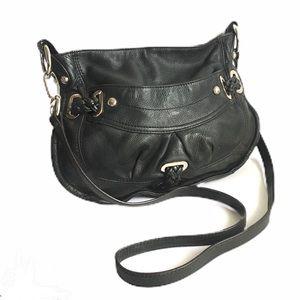 B. Makowsky Crossbody Bag Black Leather Purse